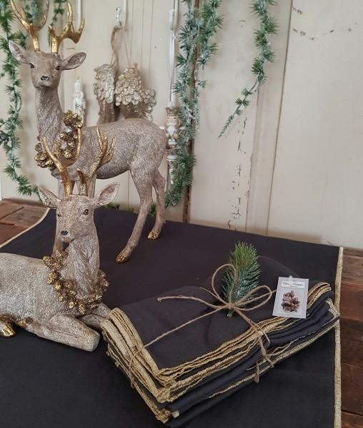 Tischläufer Tischdecke Kohle Shabby Vintage Landhaus Weihnachten Goldrand
