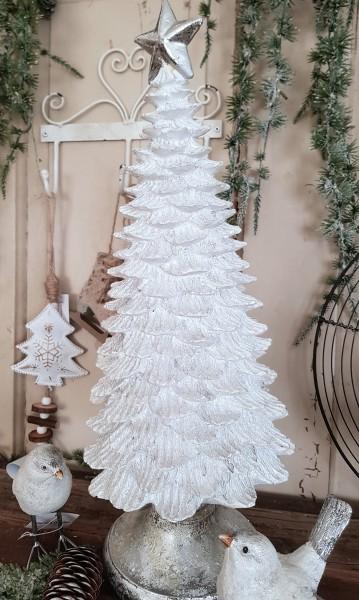 Weihachtsbaum Weiß Silber Sterne Weihnachten Shabby Vntage Landhaus Deko