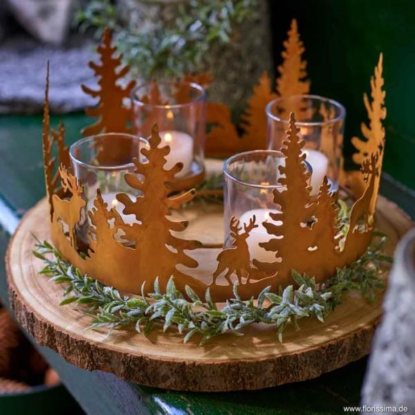 Adventskranz Windlicht Hirsche Metall Windlicht Rost Vintage Kerzenleuchter Weihnachten