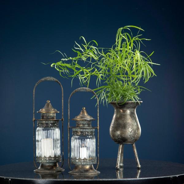 Laterne Windlicht Garten Metall Antikgold Shabby Vintage Landhaus Groß