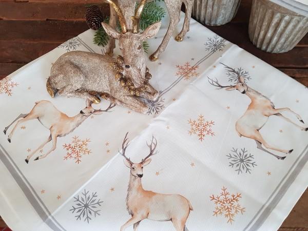 Tischdecke Hirsch Rentier Weiß Weihnachten Landhaus Vintage Shabby Deko