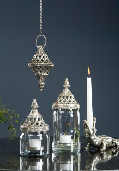Nostalgische Laterne Windlicht Silber Metall Shabby Romantik Vintage Antik Klein