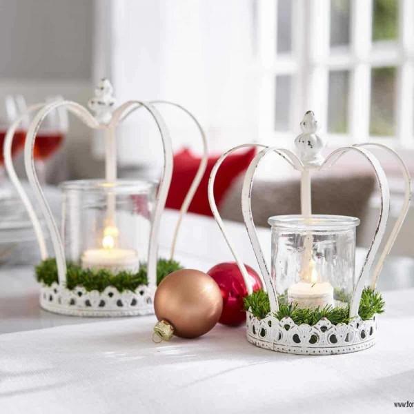 Krone Metall Windlicht Creme Shabby Vintage Nostalgie Kerzenleuchter Weihnachten