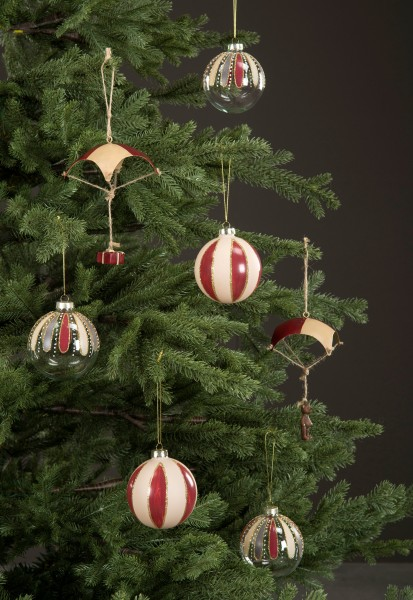 4 er Set Christbaumkugel Rot Weihnachten Shabby Vintage Nostalgie Weihnactsdeko Zirkus