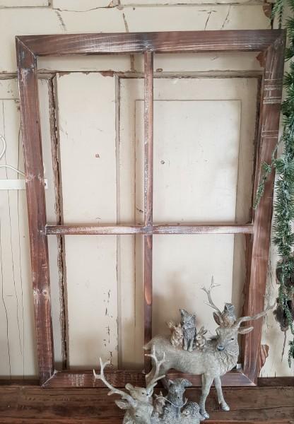 Bilderrahmen Fenster Holz Natur Braun Shabby Vintage Landhaus Deko