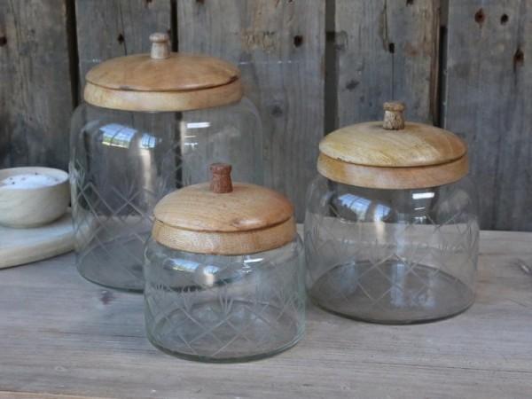 Vorratsglas mit Holzdeckel Mango Küche Vintage Landhaus Mittel
