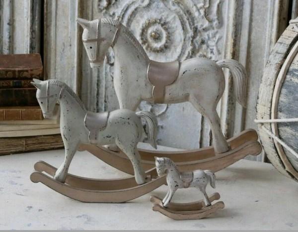 Chic Antique Schaukelpferd Pferd Christmas Holz Champagner 23cm Shabby Vintage