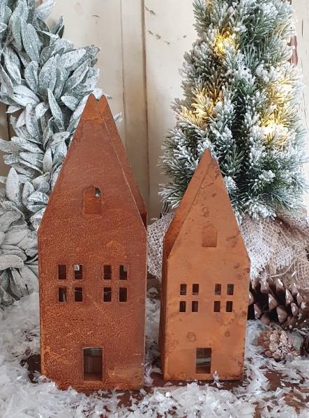 2er Set Kerzenleuchter Häuser Metall Rost Shabby Vintage Landhaus Nostalgie Deko