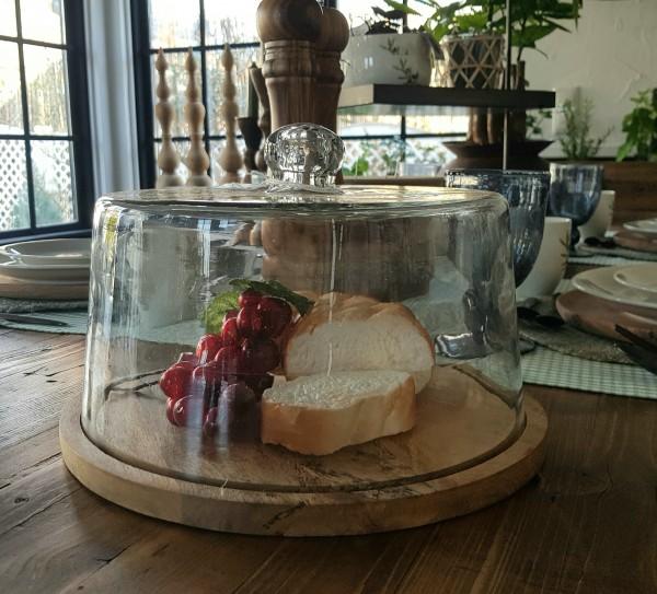 Glasglocke mit Tablett Holz Küche Landhaus, Vintage Garten Rund Groß Glatt