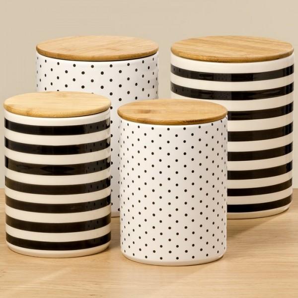 2er Set Vorratsdose Keramik Holzdeckel Boho Landhaus Küche Deko Vintage Punkte
