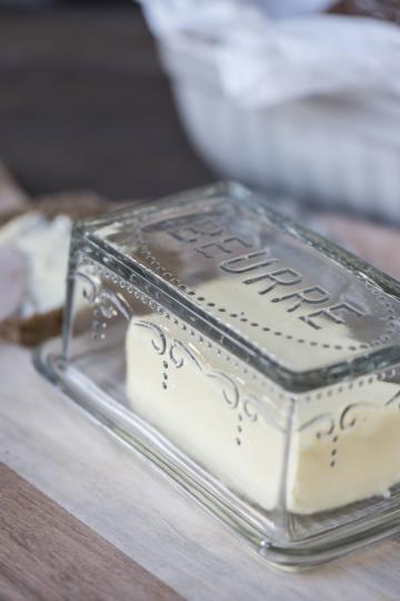 """Ib laursen Butterdose Glas Küche Vintage Landhaus Deko """"Beurre"""""""