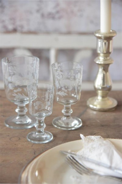 Jeanne d´arc living Weinglas Glas Ornamente Nostalgie Shabby Vintage Küche
