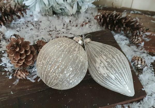 2 er Set ChristbaumkugelnWeiß Weihnachten Shabby Vintage Nostalgie Weihnachten Nr. 6
