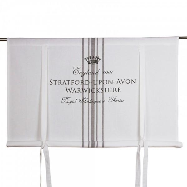 Raffgardine Raffrollo England Weiß- Grau Shabby Vintage Landhaus 100- 160 cm