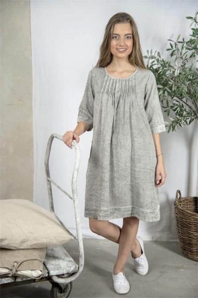 Jeanne d arc living Kleid Tunika Betina Vintage Vitagemode Spitze Landhaus Grau