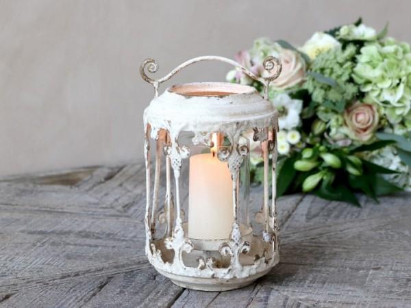 Chic Antique Laterne Windlicht Metall Antik Weiß Shabby Vintage Landhaus Nostalgie Lilie