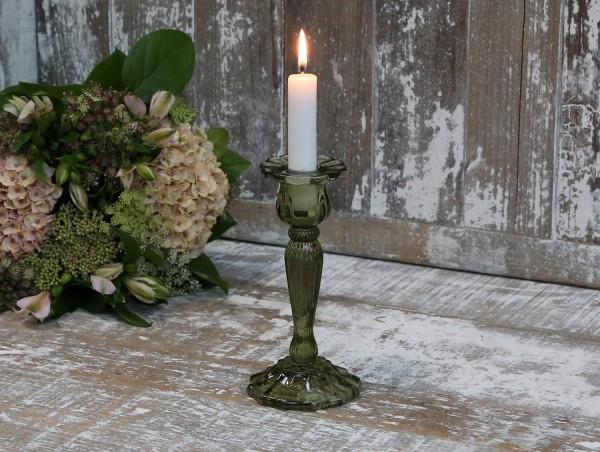 Kerzenleuchter Glas Grün Vintage Landhaus Kerzenständer Nostlgie Groß