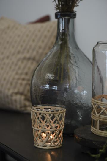 Wndlicht Bambusgeflecht Glas Shabby Vintage Landhaus Garten Boho