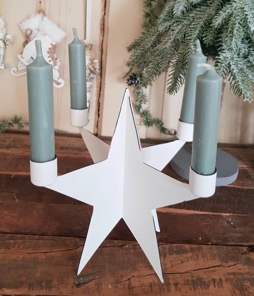 Stern Kerzenleuchter Metall Weiß Weihnachten Shabby Vintage Landhaus Deko