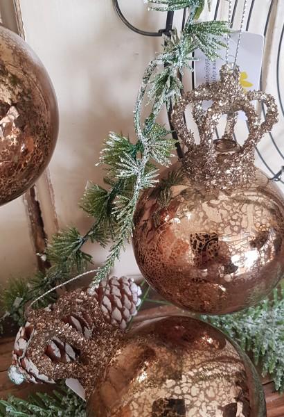 Christbaumkugel Gold/ Kupfer Krone Weihnachten Shabby Vintage Nostalgie Weihnachten Nr. 12