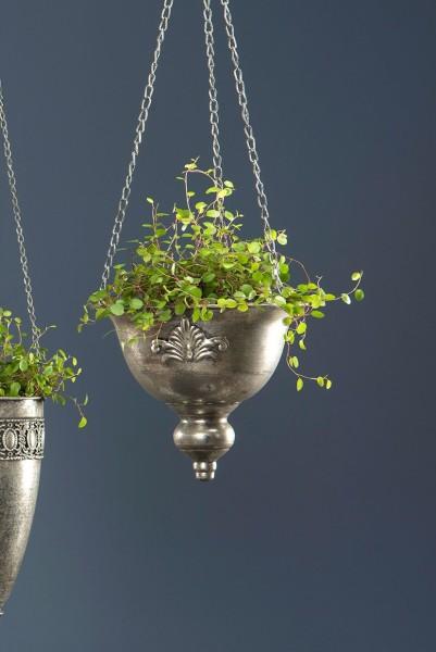 Nostalgische Blumenampel Shabby Pflanz-Hänge-Topf Metall Silber Lilie Landhaus
