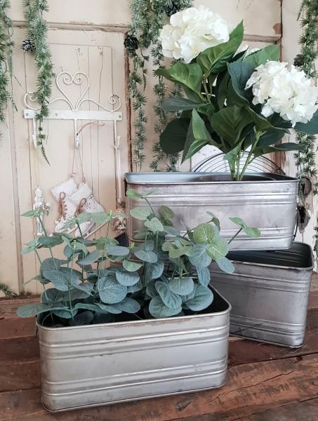 3er Set Blumen/Pflanztopf Kübel Metall Shabby Vintage Landhaus Silber Deko