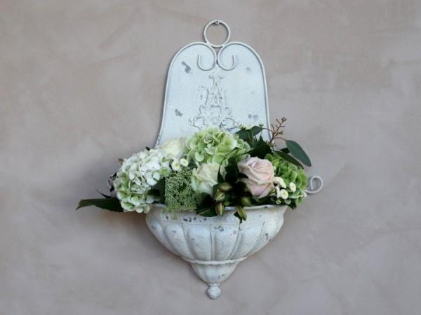 Wandbrunnen Pflanzkasten Metall Creme Garten Shabby Vintage Landhaus Deko