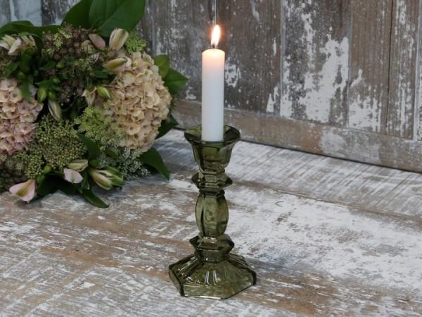 Kerzenleuchter Glas Grün Vintage Landhaus Kerzenständer Nostlgie Klein