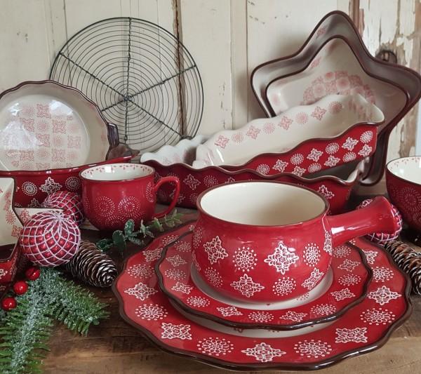 Geschirrserie Keramik Rot Weihnachten Landhaus Vintage Auflaufformen Ofenfest