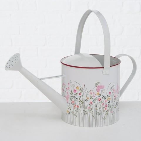 Gießkanne Zink Metall Weiß Blumen Shabby Vintagedruck Garten Landhaus Nostalgie