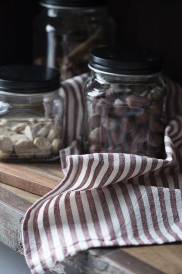 IB Laursen Küchehandtuch Rot- Weiß gestreift Baumwolle Shabby Vintage Landhaus