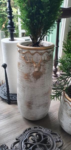 Vase Pflanztopf Hisch Garten Deko Landhaus Vintage Weihnachten