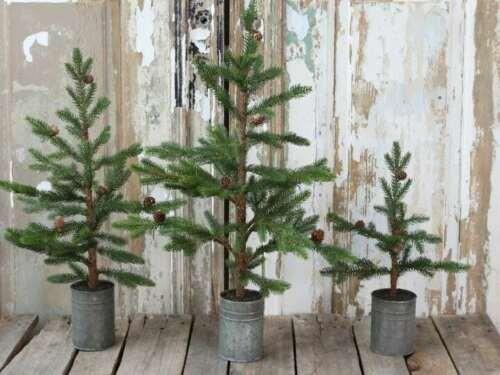 Weihnachtsbaum im Zinktopf Shabby Vintage Weihnachten Landhaus Nostalgie Klein