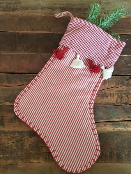 Weihnachtssocke Stiefel Stoff Rot- Weiß Weihnachten Landhaus Nostalgie Deko