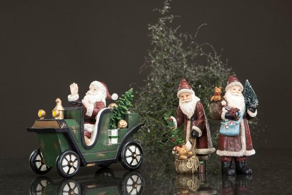 Weihnachten Weihnachtsmann mit Auto Vintage Nostalgie Landhaus Deko