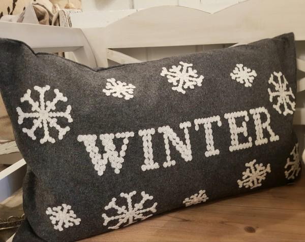 Kissenhülle Grau Winter Weihnachten Vintage Landhaus Deko 30 x 50 cm