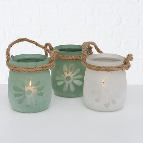 3er Set Kerzenleuchter Windlicht Glas Grün- Weiß Vintage Landhaus Nostlgie