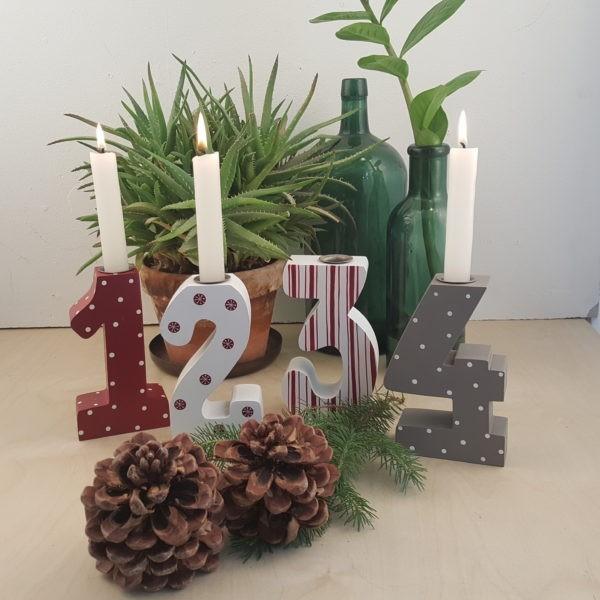 Adventszahlen Holz 1-4 Kerzen Weihnachten Shabby Vintage Landhaus Groß