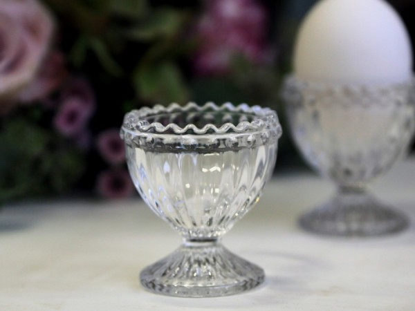 Chic Antique Glas Perlenkante Shabby Eierbecher Porzellan Vintage Landhaus