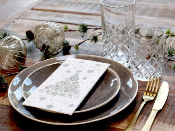 16 Servierten Papier Weiß Weihachten Vintagedruck 3 lagig Weihnachtsbaum