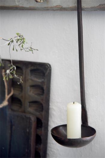Jeanne d arc Living Löffel Kelle Kerzenhalter Metall Antik Vintage Landhaus Deko