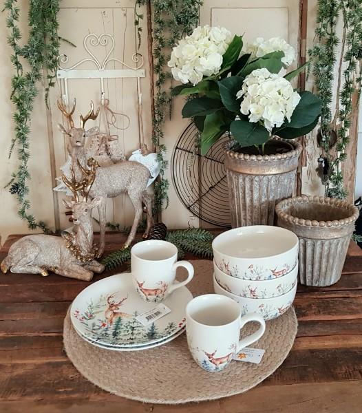Teller Tasse Schale Hirsch Weihnachten Landhaus Geschirr Porzellan Vintage Deko