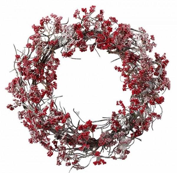 Adventskranz Beeren Rot beschneit Weihnachten Vintage Landhaus Deko