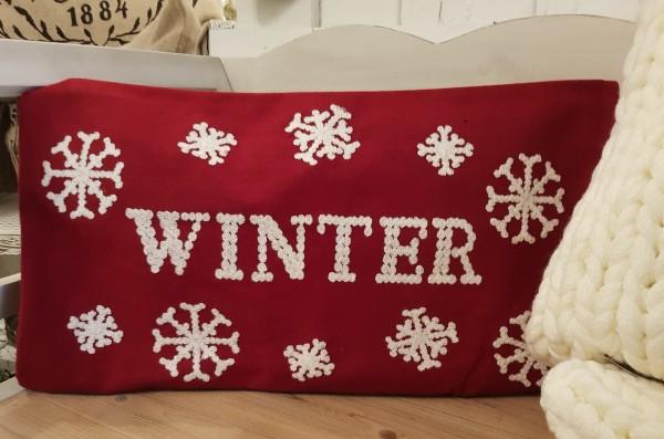 Kissenhülle Rot Winter Weihnachten Vintage Landhaus Deko 30 x 50 cm