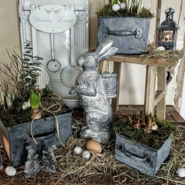 3er Set Pflanzschalen Zink Schublade Garten Shabby Vintage Landhaus Deko