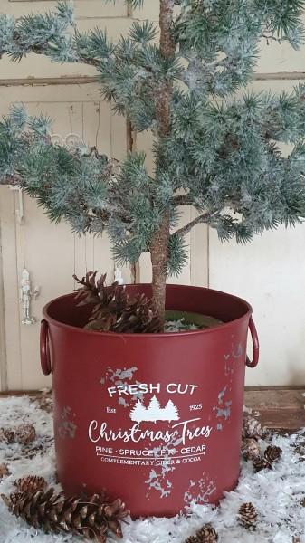 Topf Pflanzschale Metall Rot-Weiß Vintagedruck Weihnachten Christmas Trees