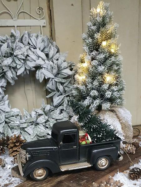 Truck Lastwagen Weihnachten Metall Weihnachtsbaum Schwarz Deko