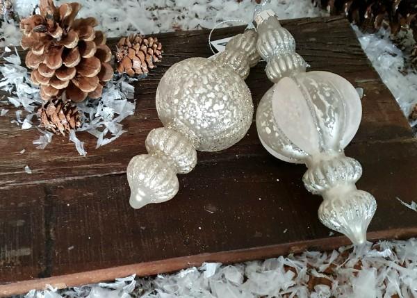 2er Set Christbaumkugeln Weiß Weihnachten Shabby Vintage Nostalgie Weihnachten Nr.401