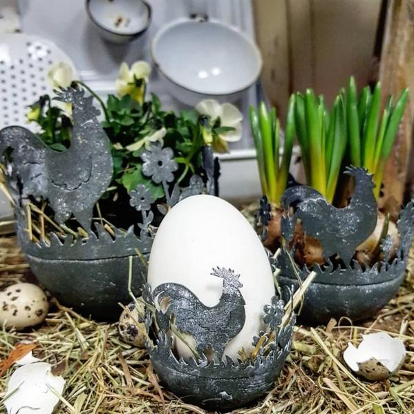 3er Set Pflanztöpfe Zink Huhn Frühling Garten Shabby Ostern Vintage Deko