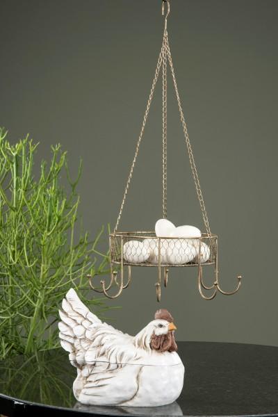 Hängekorb Korb Ampel Kräuterkrone Metall Antikgold Landhaus